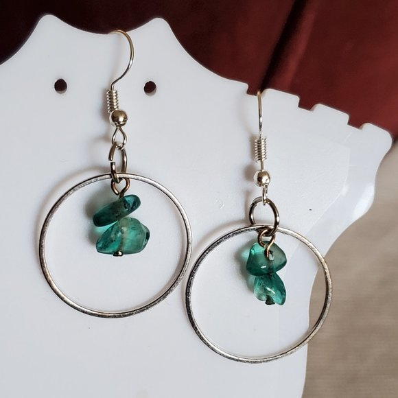 "1.5"" Silver Tone Blue Plastic Bead Circle Earrings"